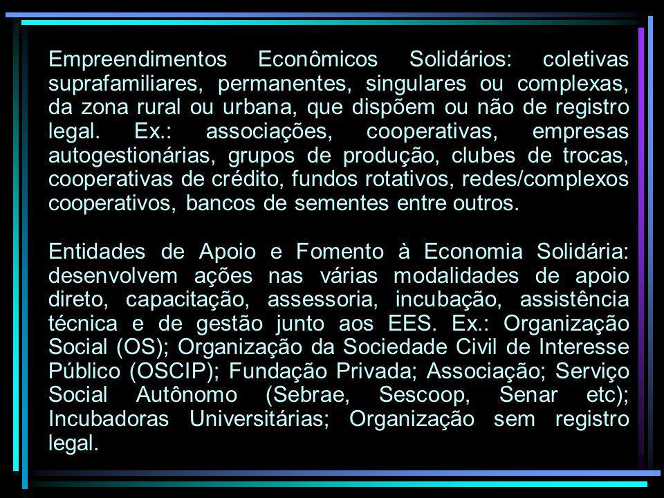 Empreendimentos Econômicos Solidários: coletivas suprafamiliares, permanentes, singulares ou complexas, da zona rural ou urbana, que dispõem ou não de registro legal.