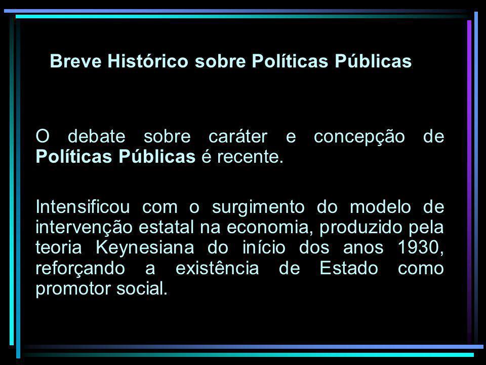 Breve Histórico sobre Políticas Públicas O debate sobre caráter e concepção de Políticas Públicas é recente. Intensificou com o surgimento do modelo d