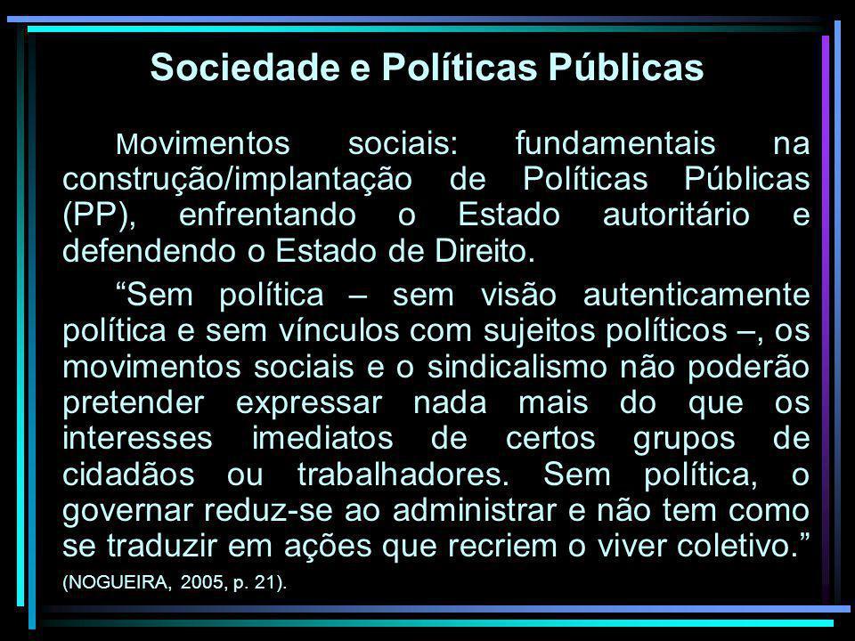 Sociedade e Políticas Públicas M ovimentos sociais: fundamentais na construção/implantação de Políticas Públicas (PP), enfrentando o Estado autoritári