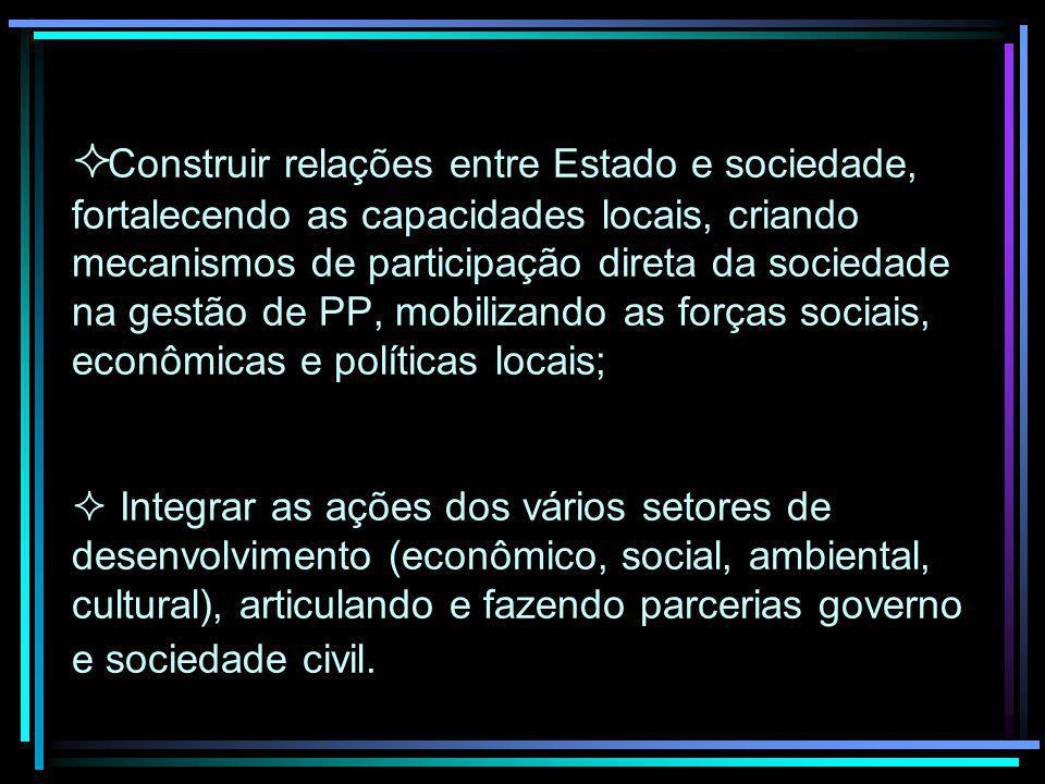 Construir relações entre Estado e sociedade, fortalecendo as capacidades locais, criando mecanismos de participação direta da sociedade na gestão de P
