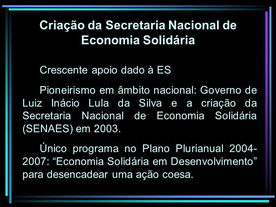 Criação da Secretaria Nacional de Economia Solidária Crescente apoio dado à ES Pioneirismo em âmbito nacional: Governo de Luiz Inácio Lula da Silva e a criação da Secretaria Nacional de Economia Solidária (SENAES) em 2003.