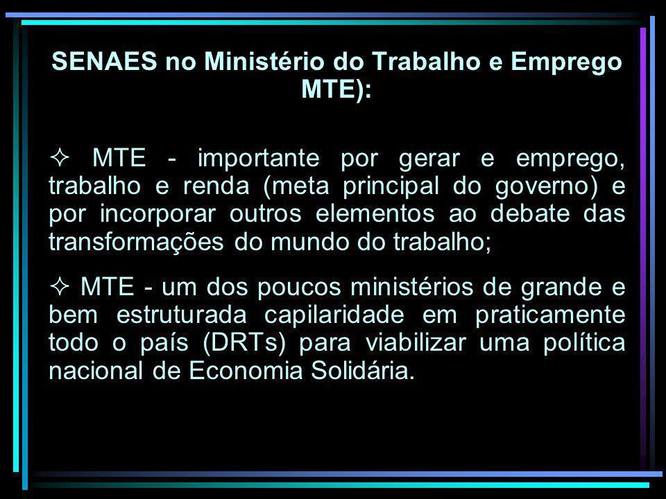 SENAES no Ministério do Trabalho e Emprego MTE): MTE - importante por gerar e emprego, trabalho e renda (meta principal do governo) e por incorporar o