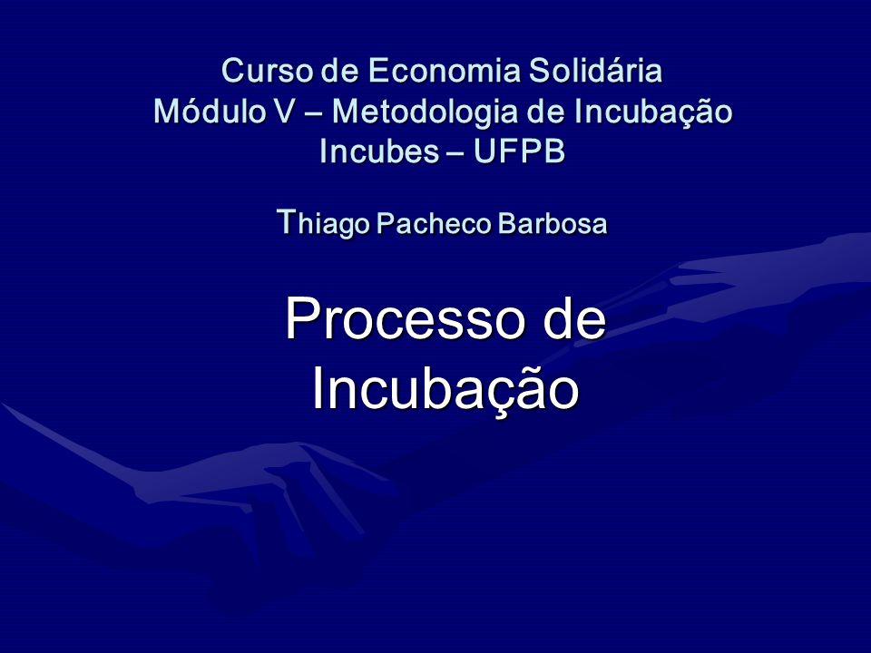 Curso de Economia Solidária Módulo V – Metodologia de Incubação Incubes – UFPB T hiago Pacheco Barbosa Curso de Economia Solidária Módulo V – Metodolo
