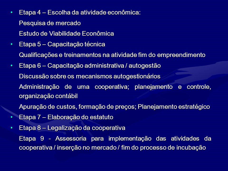 Etapa 4 – Escolha da atividade econômica:Etapa 4 – Escolha da atividade econômica: Pesquisa de mercado Estudo de Viabilidade Econômica Etapa 5 – Capac