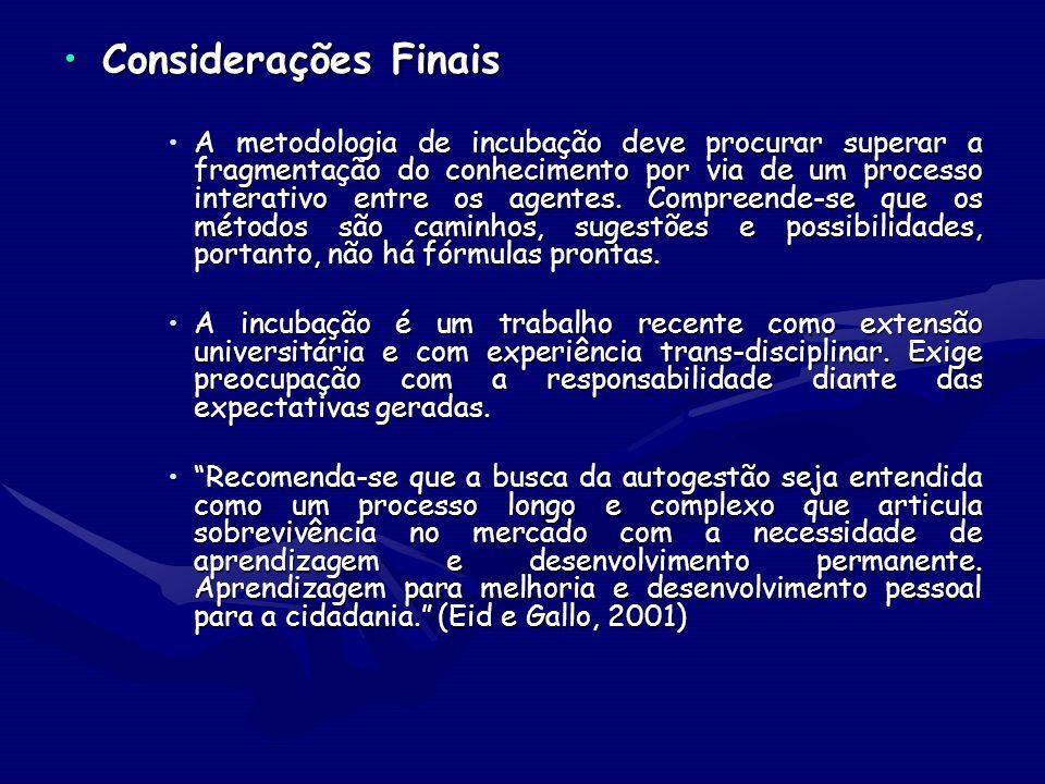 Considerações FinaisConsiderações Finais A metodologia de incubação deve procurar superar a fragmentação do conhecimento por via de um processo intera