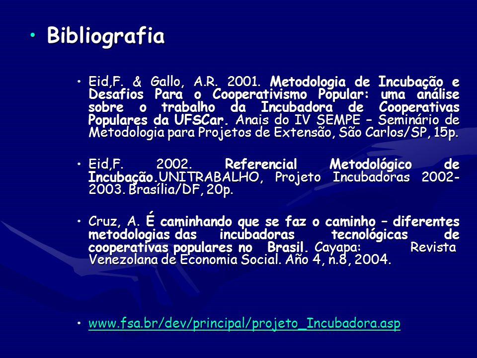 BibliografiaBibliografia Eid,F. & Gallo, A.R. 2001. Metodologia de Incubação e Desafios Para o Cooperativismo Popular: uma análise sobre o trabalho da