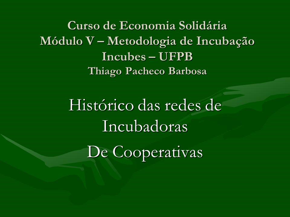 Curso de Economia Solidária Módulo V – Metodologia de Incubação Incubes – UFPB Thiago Pacheco Barbosa Histórico das redes de Incubadoras De Cooperativ