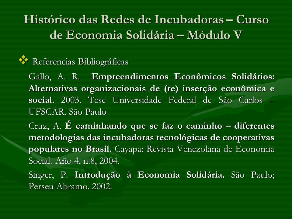Referencias Bibliográficas Referencias Bibliográficas Gallo, A. R. Empreendimentos Econômicos Solidários: Alternativas organizacionais de (re) inserçã