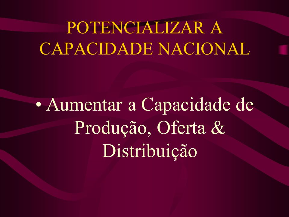 POTENCIALIZAR A CAPACIDADE NACIONAL Aumentar a Capacidade de Produção, Oferta & Distribuição