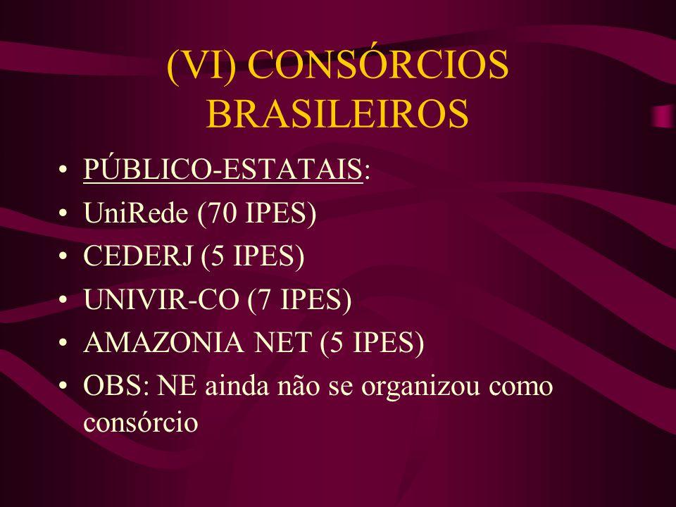 (VI) CONSÓRCIOS BRASILEIROS PÚBLICO-ESTATAIS: UniRede (70 IPES) CEDERJ (5 IPES) UNIVIR-CO (7 IPES) AMAZONIA NET (5 IPES) OBS: NE ainda não se organizo