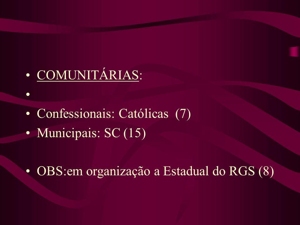 COMUNITÁRIAS: Confessionais: Católicas (7) Municipais: SC (15) OBS:em organização a Estadual do RGS (8)
