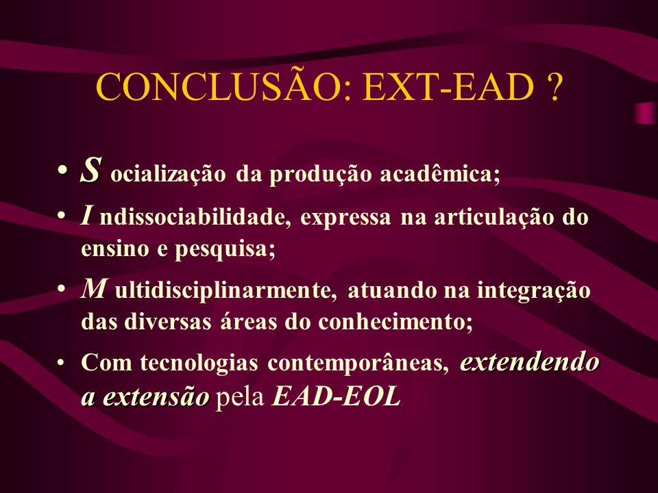 CONCLUSÃO: EXT-EAD ? SS ocialização da produção acadêmica; I ndissociabilidade, expressa na articulação do ensino e pesquisa; M ultidisciplinarmente,
