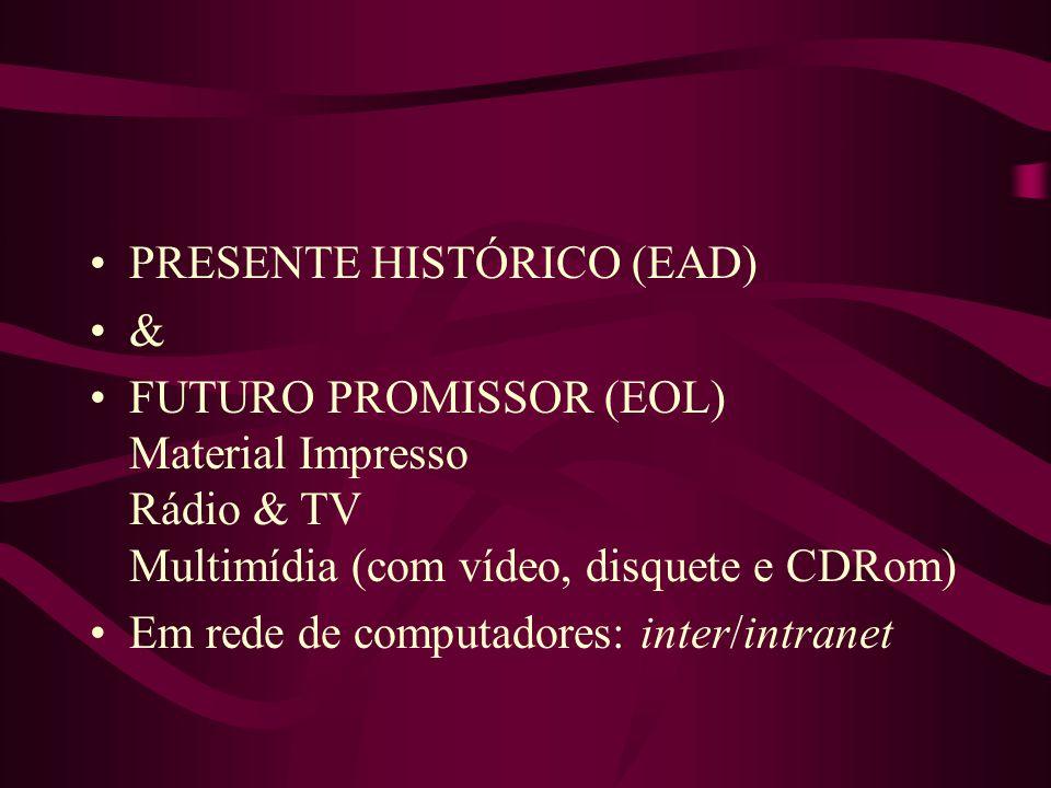 PRESENTE HISTÓRICO (EAD) & FUTURO PROMISSOR (EOL) Material Impresso Rádio & TV Multimídia (com vídeo, disquete e CDRom) Em rede de computadores: inter