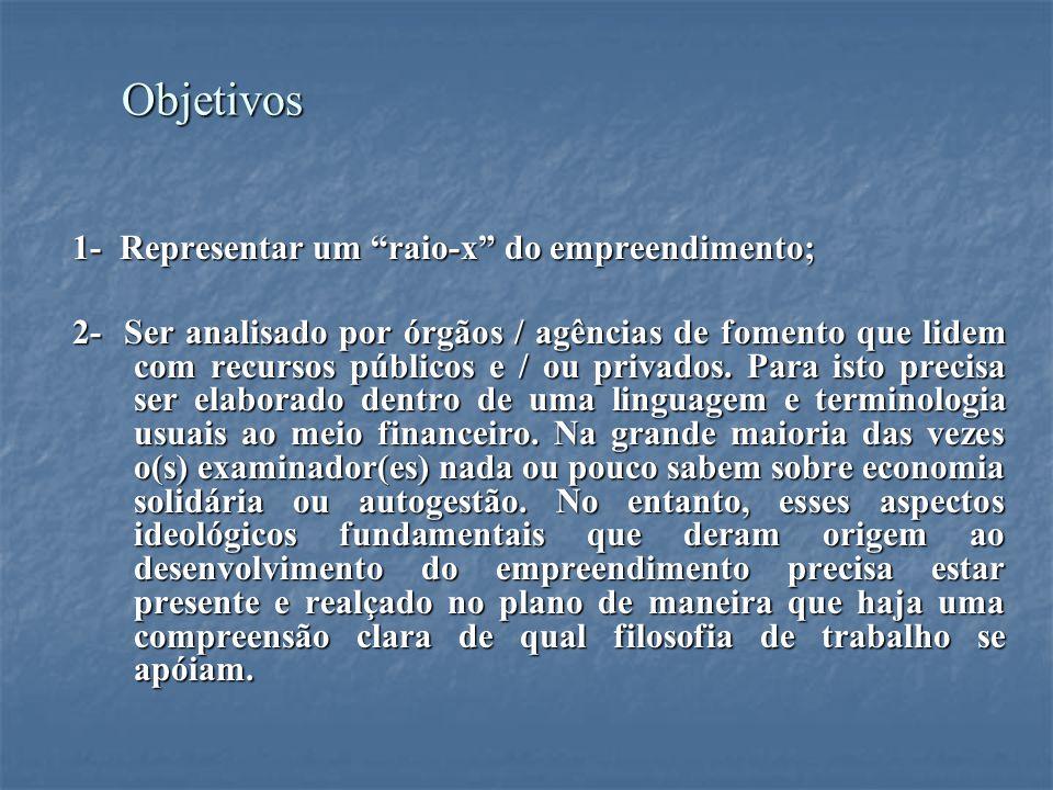 Objetivos Objetivos 1- Representar um raio-x do empreendimento; 1- Representar um raio-x do empreendimento; 2- Ser analisado por órgãos / agências de