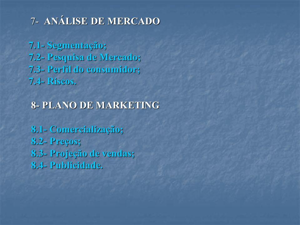 7- ANÁLISE DE MERCADO 7- ANÁLISE DE MERCADO 7.1- Segmentação; 7.1- Segmentação; 7.2- Pesquisa de Mercado; 7.2- Pesquisa de Mercado; 7.3- Perfil do con
