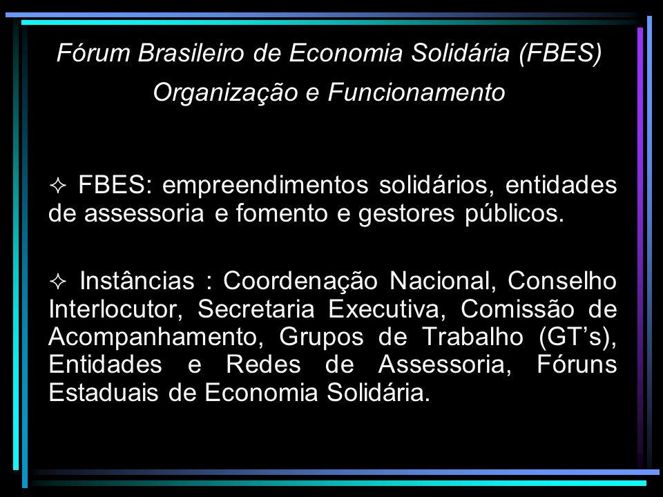 Fórum Brasileiro de Economia Solidária (FBES) Organização e Funcionamento FBES: empreendimentos solidários, entidades de assessoria e fomento e gestores públicos.