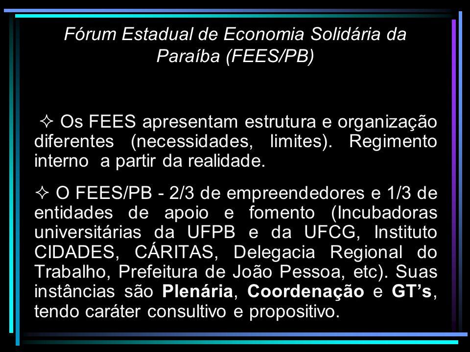 Fórum Estadual de Economia Solidária da Paraíba (FEES/PB) O que é.