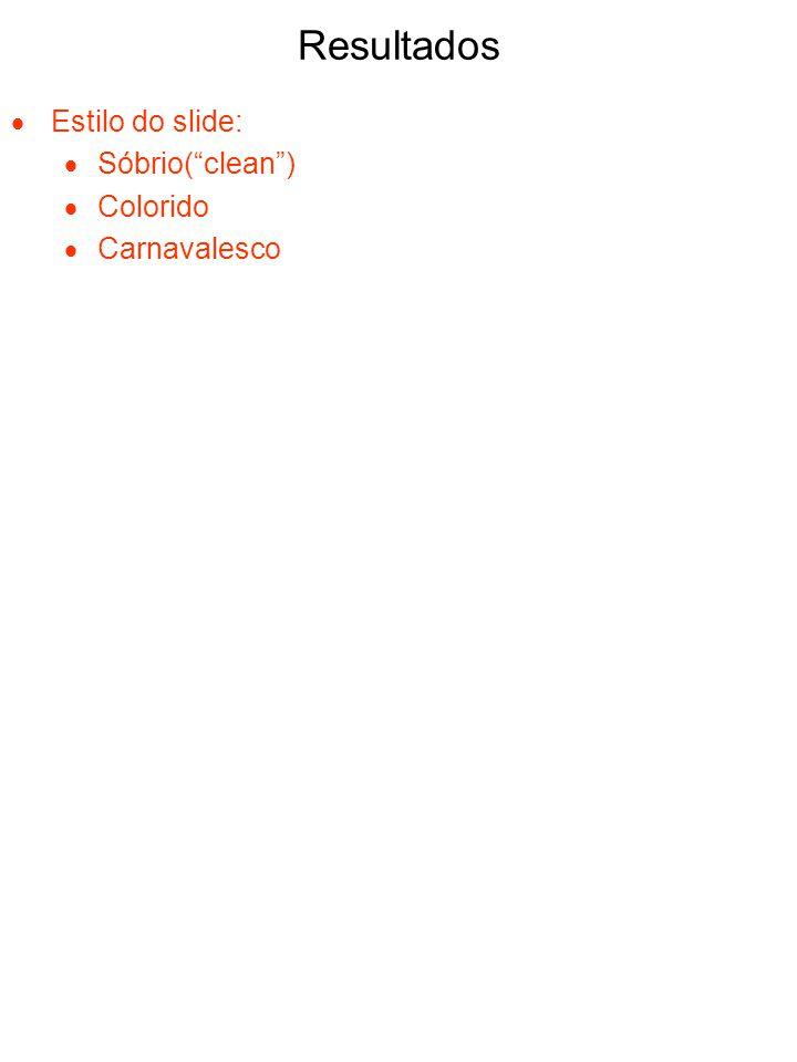 Resultados Estilo do slide: Sóbrio(clean) Colorido Carnavalesco