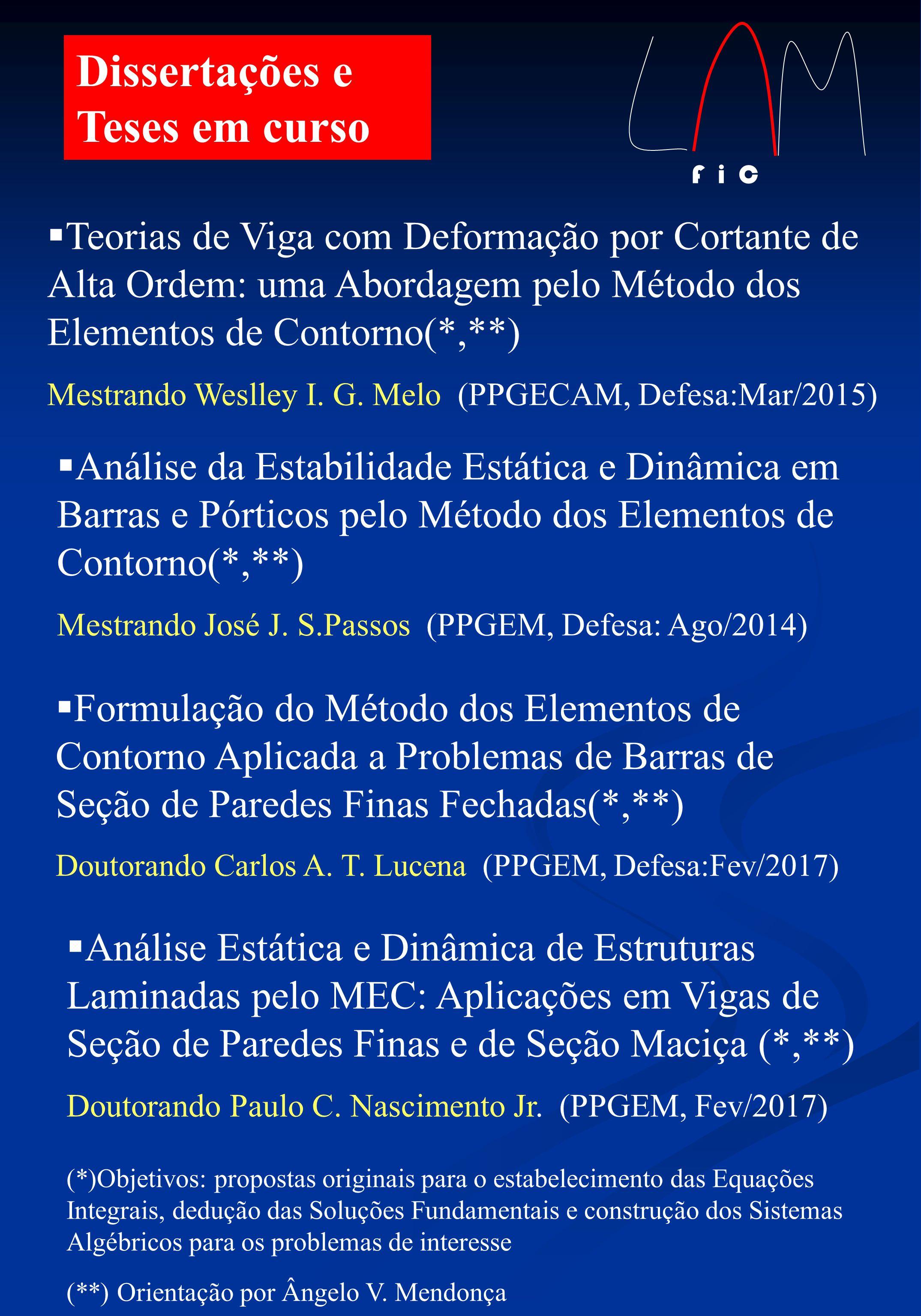Dissertações e Teses em curso Teorias de Viga com Deformação por Cortante de Alta Ordem: uma Abordagem pelo Método dos Elementos de Contorno(*,**) Mestrando Weslley I.