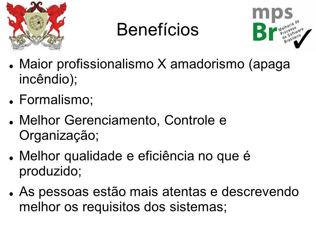 Benefícios Maior profissionalismo X amadorismo (apaga incêndio); Formalismo; Melhor Gerenciamento, Controle e Organização; Melhor qualidade e eficiênc