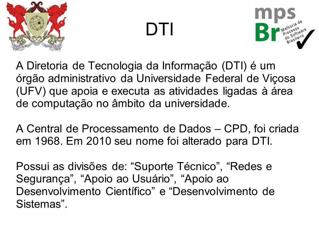 DTI A Diretoria de Tecnologia da Informação (DTI) é um órgão administrativo da Universidade Federal de Viçosa (UFV) que apoia e executa as atividades