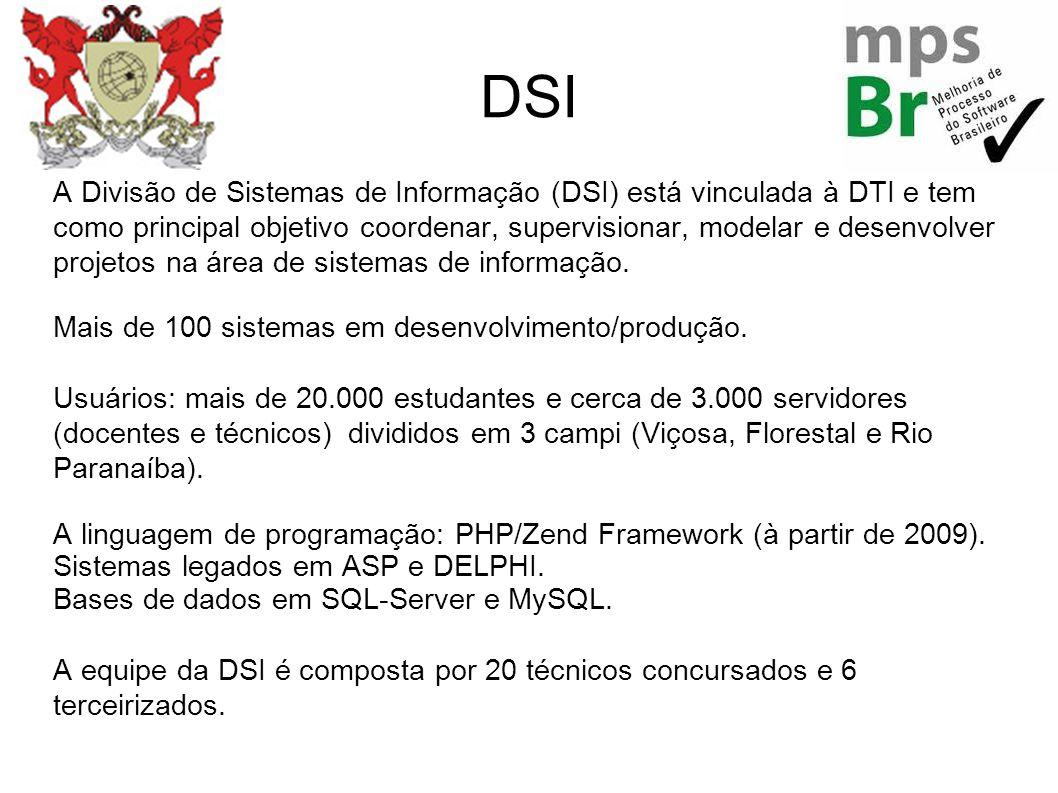 DSI A Divisão de Sistemas de Informação (DSI) está vinculada à DTI e tem como principal objetivo coordenar, supervisionar, modelar e desenvolver proje