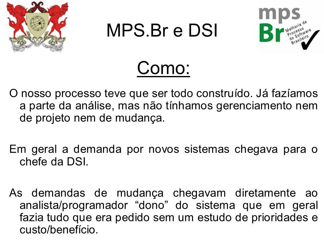 MPS.Br e DSI Como: O nosso processo teve que ser todo construído. Já fazíamos a parte da análise, mas não tínhamos gerenciamento nem de projeto nem de