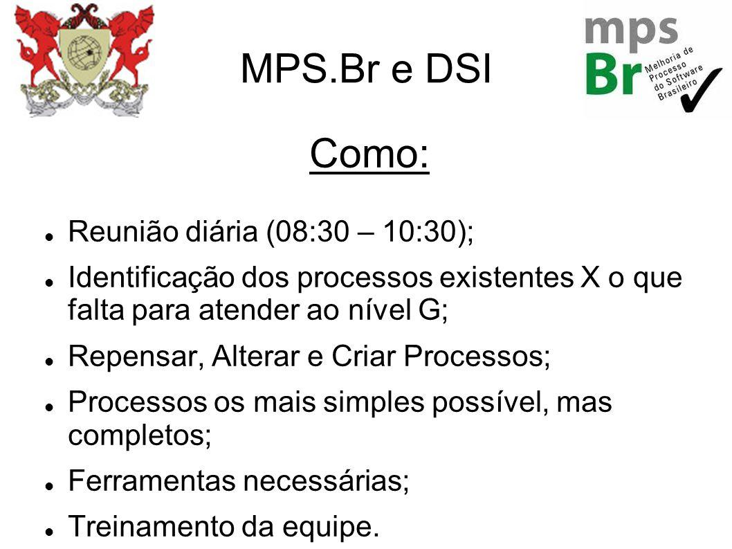 MPS.Br e DSI Como: Reunião diária (08:30 – 10:30); Identificação dos processos existentes X o que falta para atender ao nível G; Repensar, Alterar e C