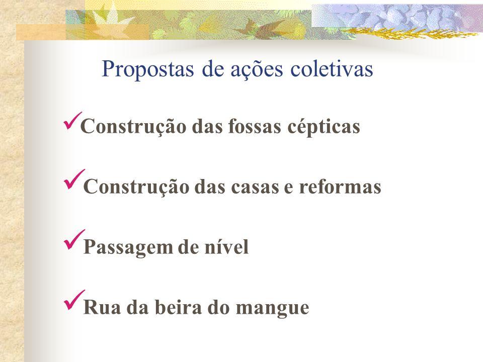 Construção das fossas cépticas Construção das casas e reformas Passagem de nível Rua da beira do mangue Propostas de ações coletivas