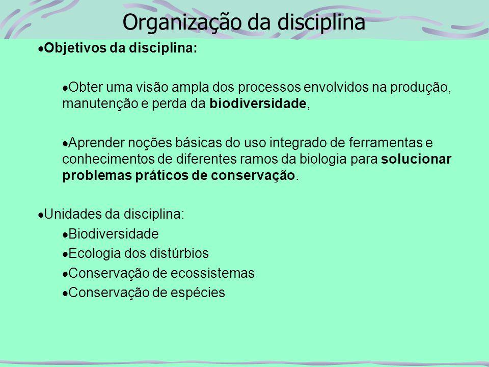 Organização da disciplina Bibliografia Básica: Primack, R.B.