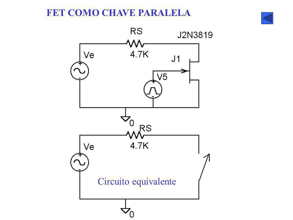 FET COMO CHAVE PARALELA Circuito equivalente