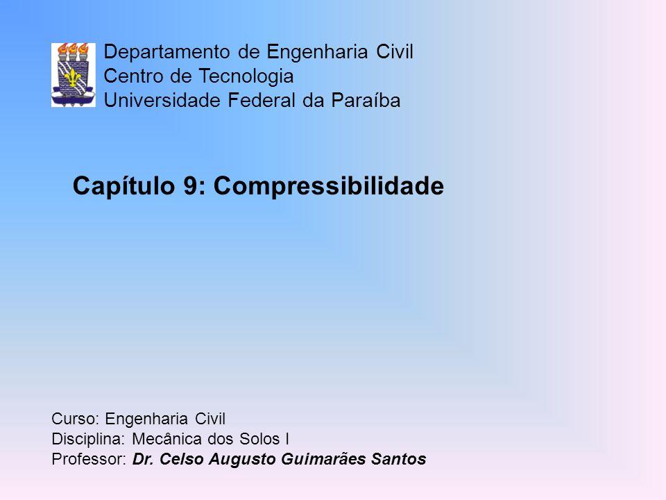 Departamento de Engenharia Civil Centro de Tecnologia Universidade Federal da Paraíba Curso: Engenharia Civil Disciplina: Mecânica dos Solos I Profess