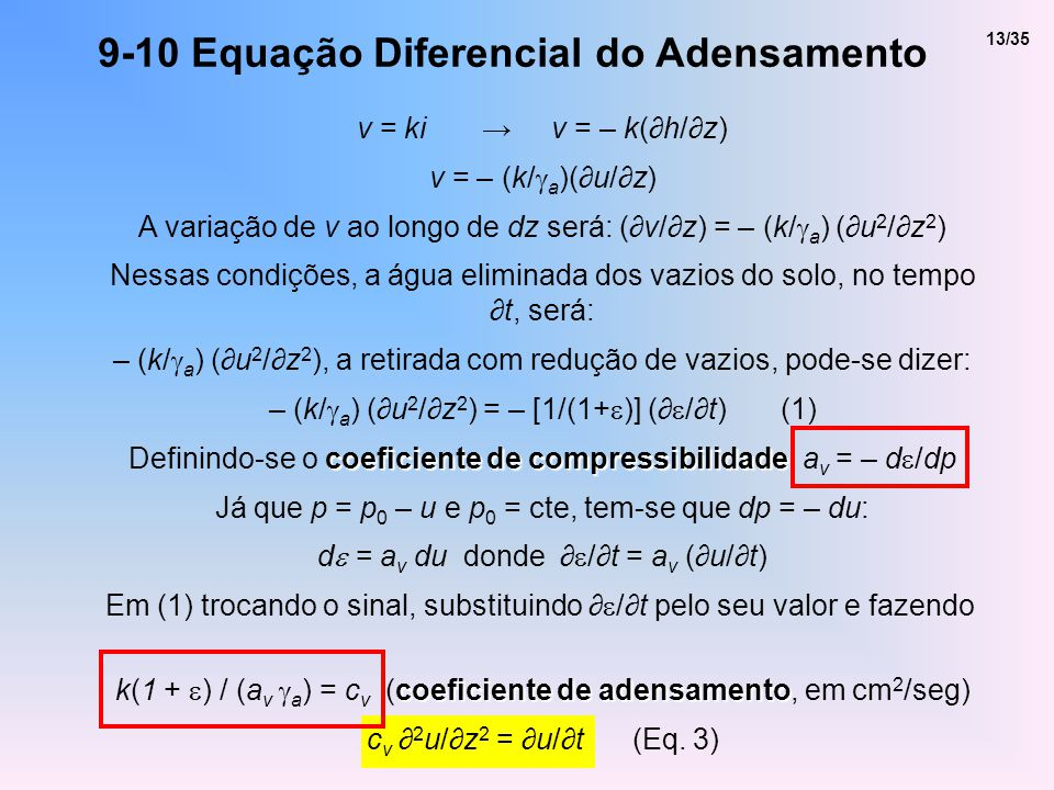 9-10 Equação Diferencial do Adensamento v = ki v = – k(h/z) v = – (k/ a )(u/z) A variação de v ao longo de dz será: (v/z) = – (k/ a ) (u 2 /z 2 ) Ness