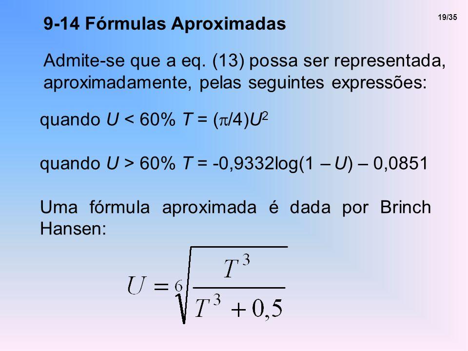 9-14 Fórmulas Aproximadas Admite-se que a eq. (13) possa ser representada, aproximadamente, pelas seguintes expressões: quando U < 60% T = ( /4)U 2 qu