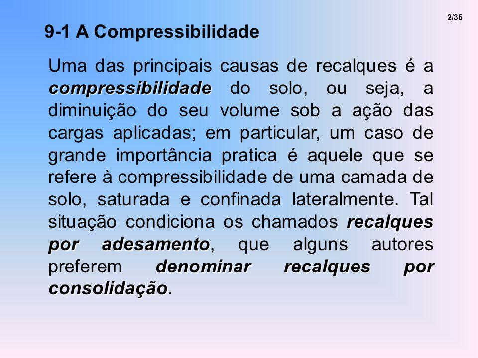 9-1 A Compressibilidade compressibilidade recalques por adesamento denominar recalques por consolidação Uma das principais causas de recalques é a com