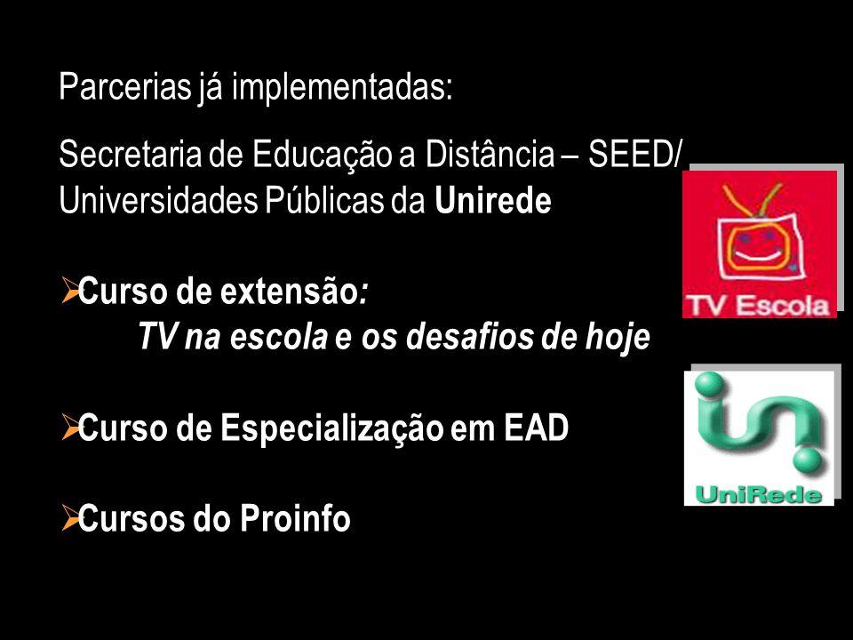 Parcerias já implementadas: Secretaria de Educação a Distância – SEED/ Universidades Públicas da Unirede Curso de extensão : TV na escola e os desafio