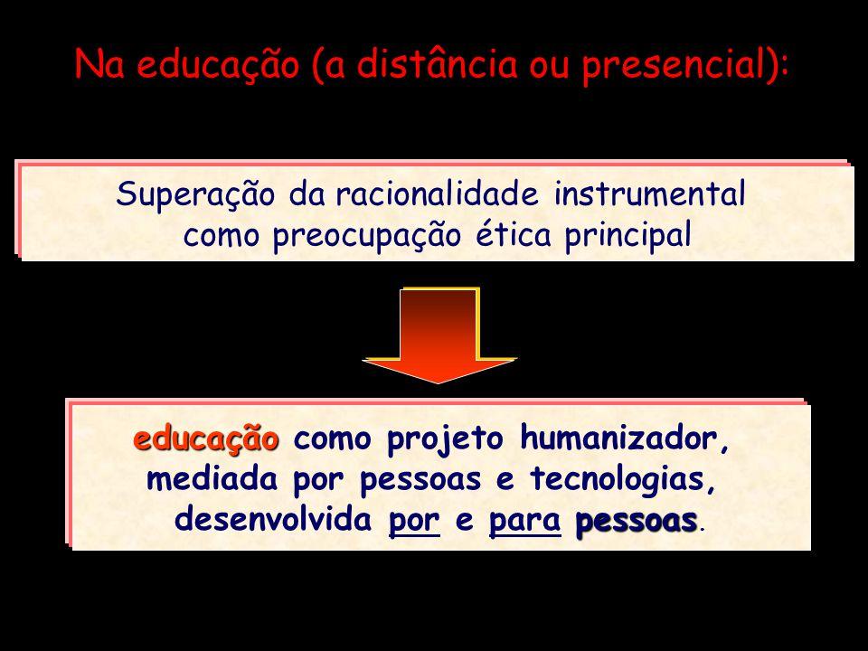 Na educação (a distância ou presencial): Superação da racionalidade instrumental como preocupação ética principal educação educação como projeto human