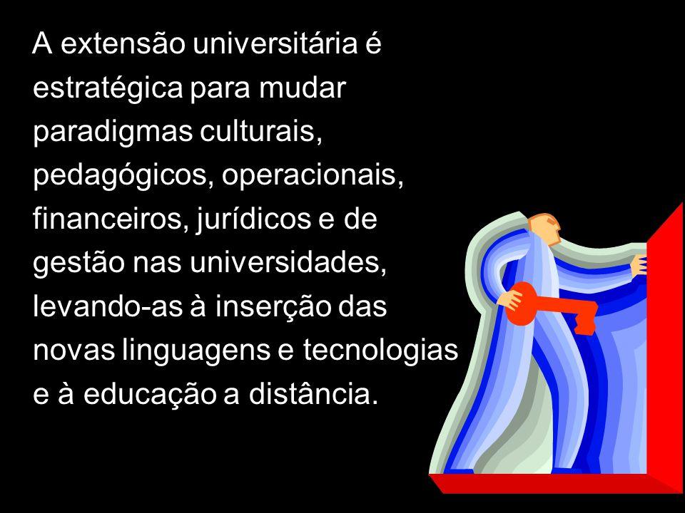 A A extensão universitária é estratégica para mudar paradigmas culturais, pedagógicos, operacionais, financeiros, jurídicos e de gestão nas universida