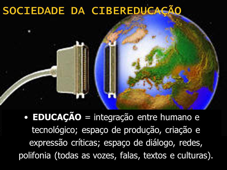 SOCIEDADE DA CIBEREDUCAÇÃO EDUCAÇÃO = integração entre humano e tecnológico; espaço de produção, criação e expressão críticas; espaço de diálogo, rede