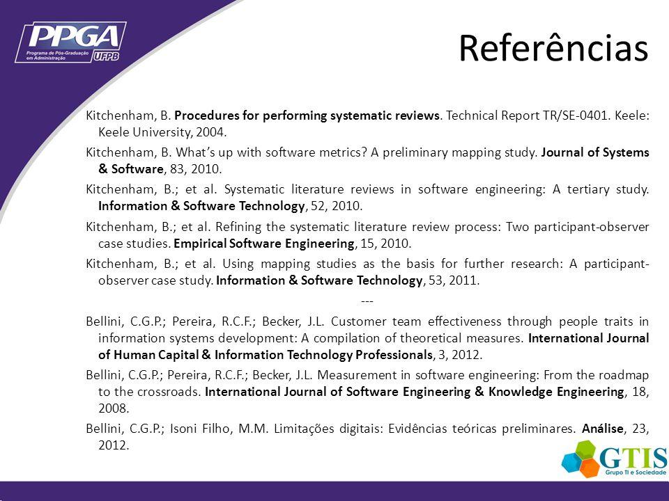 Kitchenham (2010) Bellini et al.(2008) perform a more systematic search process.
