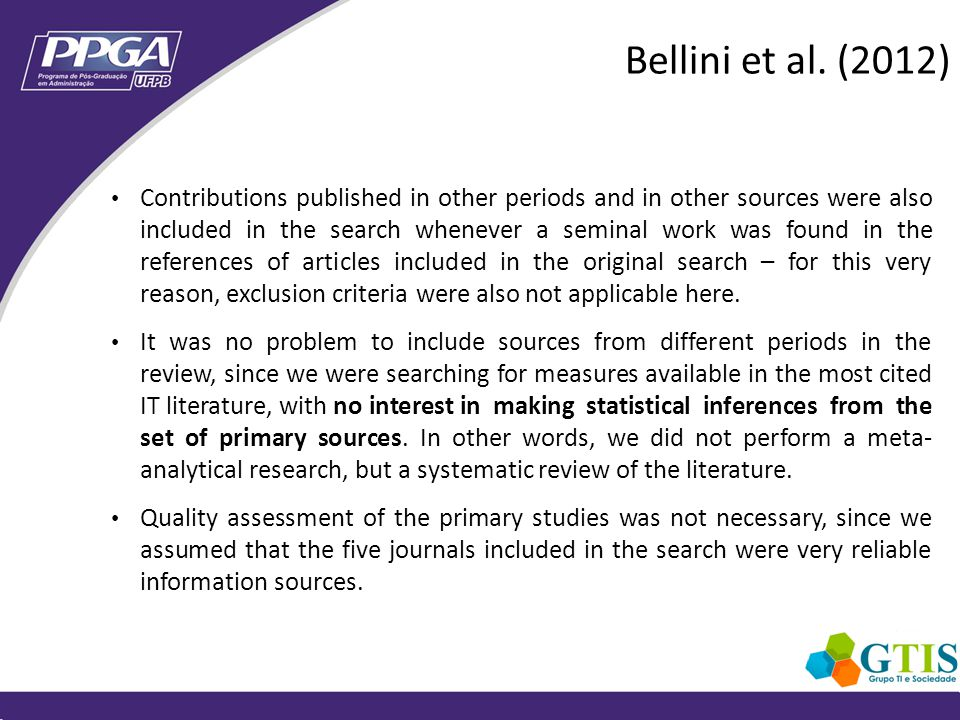 Contributions published in other periods and in other sources were also included in the search whenever a seminal work was found in the references of articles included in the original search – for this very reason, exclusion criteria were also not applicable here.