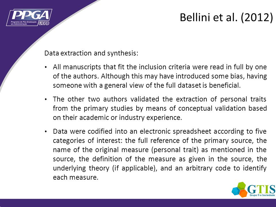 Data extraction and synthesis: All manuscripts that fit the inclusion criteria were read in full by one of the authors.