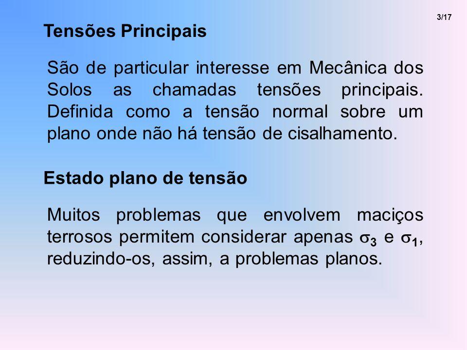 Tensões Principais 3/17 São de particular interesse em Mecânica dos Solos as chamadas tensões principais.