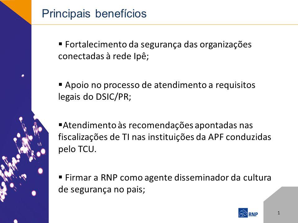 Principais benefícios Fortalecimento da segurança das organizações conectadas à rede Ipê; Apoio no processo de atendimento a requisitos legais do DSIC/PR; Atendimento às recomendações apontadas nas fiscalizações de TI nas instituições da APF conduzidas pelo TCU.