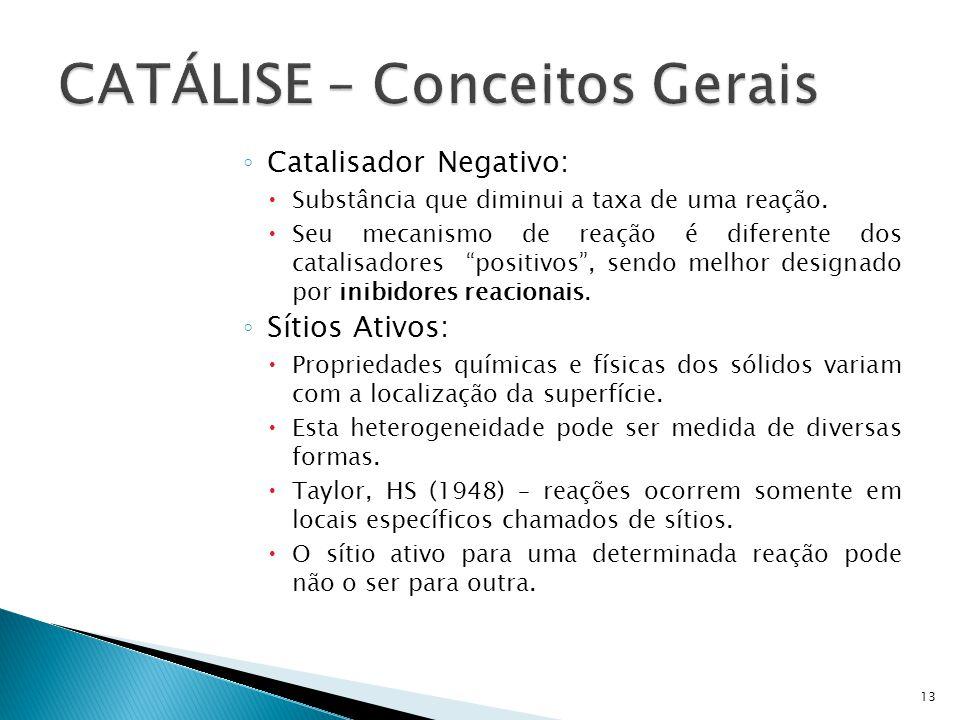Catalisador Negativo: Substância que diminui a taxa de uma reação. Seu mecanismo de reação é diferente dos catalisadores positivos, sendo melhor desig