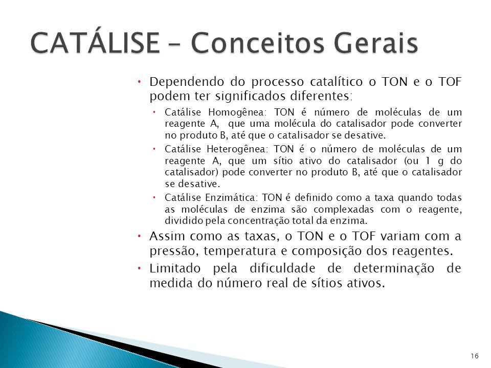 Dependendo do processo catalítico o TON e o TOF podem ter significados diferentes: Catálise Homogênea: TON é número de moléculas de um reagente A, que