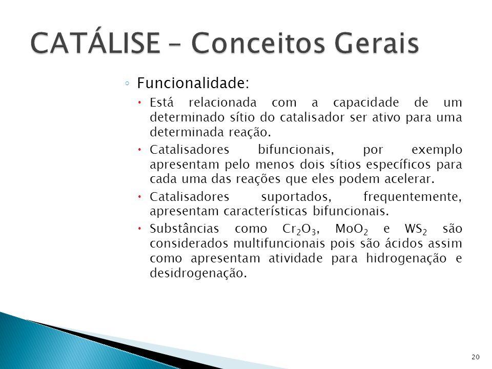 Funcionalidade: Está relacionada com a capacidade de um determinado sítio do catalisador ser ativo para uma determinada reação. Catalisadores bifuncio