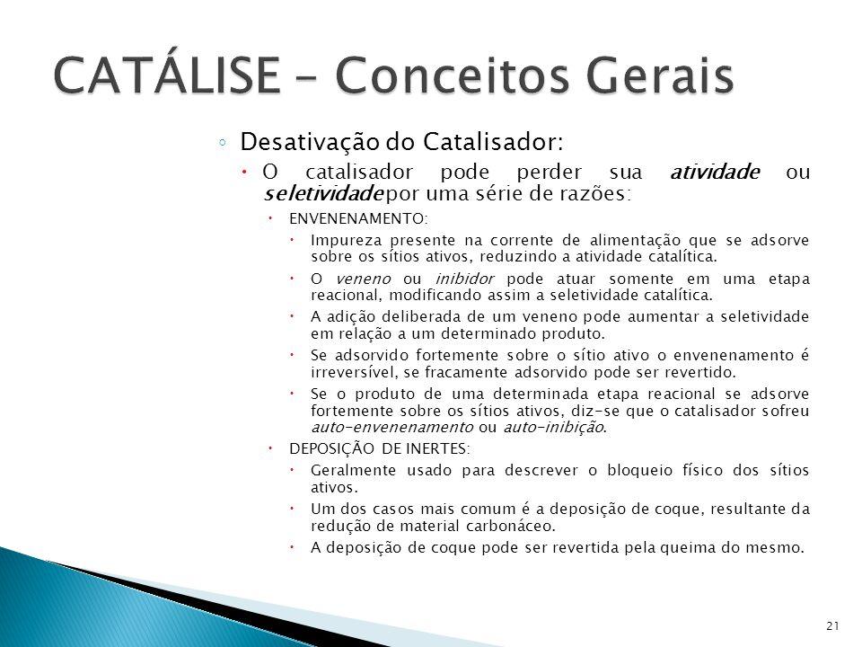 Desativação do Catalisador: O catalisador pode perder sua atividade ou seletividade por uma série de razões: ENVENENAMENTO: Impureza presente na corre