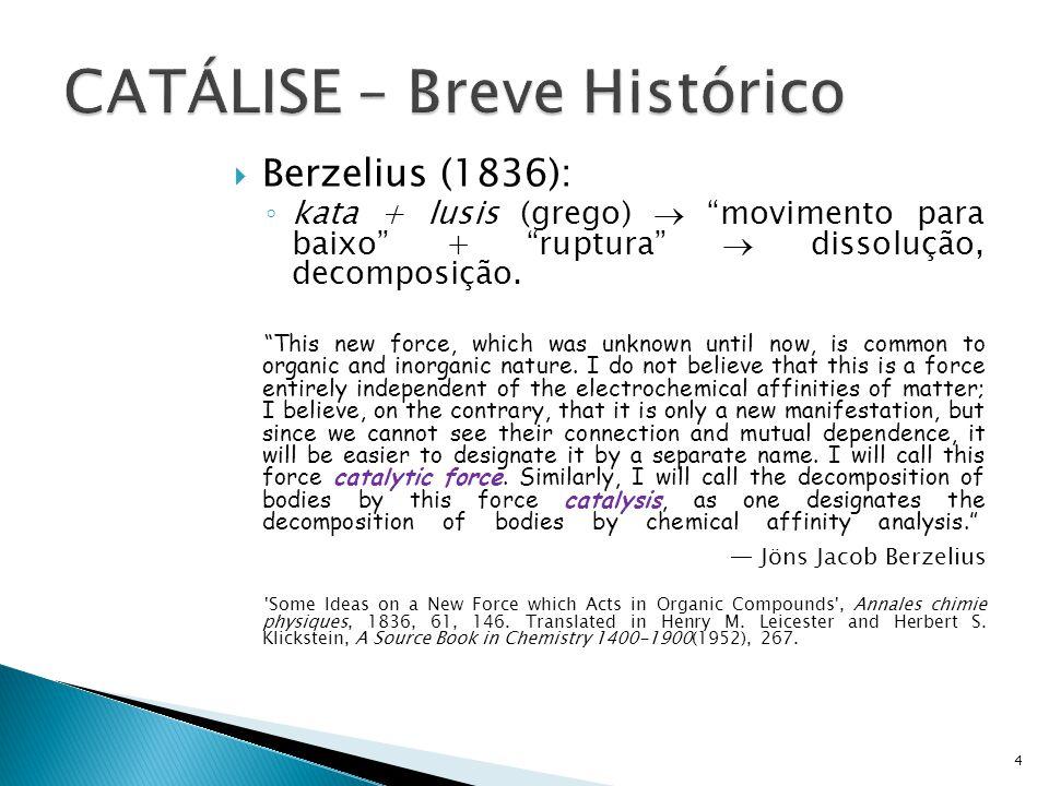 Berzelius (1836): kata + lusis (grego) movimento para baixo + ruptura dissolução, decomposição. This new force, which was unknown until now, is common