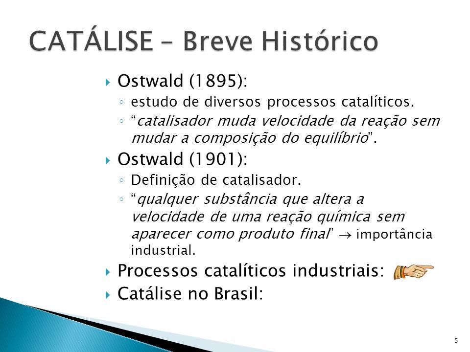 Ostwald (1895): estudo de diversos processos catalíticos. catalisador muda velocidade da reação sem mudar a composição do equilíbrio. Ostwald (1901):